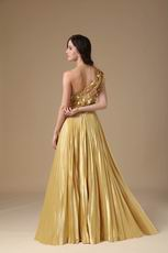 One Shoulder Golden Floor Length Best Evening Dress