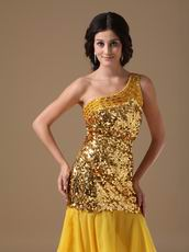 One Shoulder Golden Flaring Sequin Fabric Dress To Cocktail