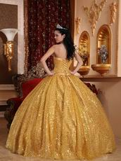 Designer Golden Sequin Strapless Quinceanera Dress In Georgia