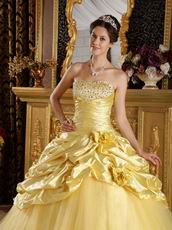 Best Sweetheart Striped Printed Yellow Quinceanera Ball Gown