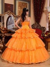 Layers Orange Skirt Quinceanera Dress With Bowknot Decorate