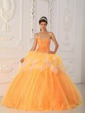 Pretty Orange Tulle Floor Length Quinceanera Ball Dress Cheap