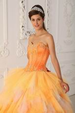 Pretty Orange Tulle Floor Length Quinceanera Ball Dress Cheap