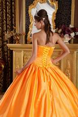 Embroidery Orange Quinceanera Ceremony Dress With Bowknot