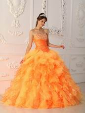 Orange Cascade Skirt Quinceanera Dress Pretty Styles