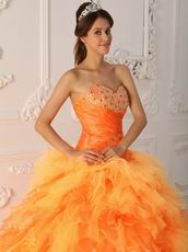 Orange Cascade Skirt Quinceanera Dress Pretty Styles