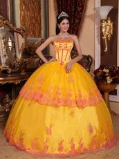 Strapless Marigold Quince Ball Dress By 2014 Top Designer