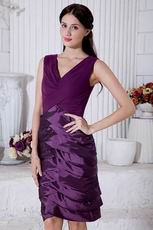 Designer Layers Skirt Grape Mother Of The Bride Dress