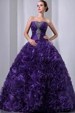 Ruffles Floor Length Skirt Purple Dama Dress For Quinceanera
