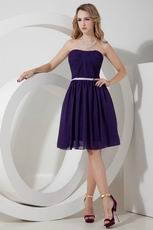 Strapless Purple Chiffon Bridesmaid Dress With Belt