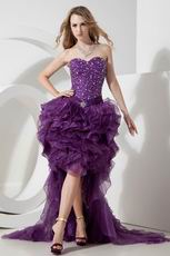 Grape Organza Sweetheart Beading High Low Short Prom Dress
