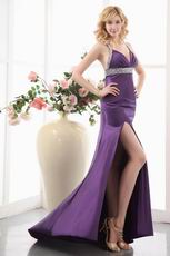Sexy High Split Purple 2014 New Arrival Evening Dress