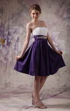Contrast Color Knee-length Short Girls Bridesmaid Dress