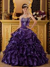 Purple Organza Strapless Puffy La Quinceanera Dresses Gown