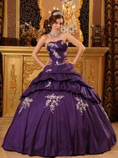 Sweetheart Purple Puffy Quinceanera Dress With Applique