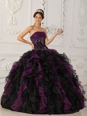 Purple And Black Ruffle Skirt Designer Quinceanera Dress