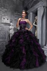 Ruffled Skirt Grap And Black Puffy Quinceanera Dress For Sale
