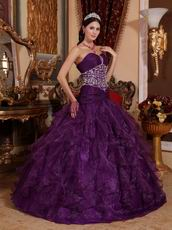 Purple Ruffled Skirt Floor Length Ball Gown With Beading