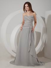 Grey Chiffon Long Mother Of The Bride Dress With Jacket