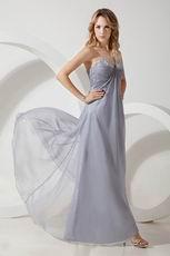 V Shaped Strapless Sivler Gray Chiffon Bridesmaid Dress