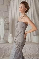 Grey Chiffon Trumpet Sweetheart Lace Skirt Prom Dress 2014
