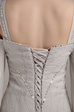 Wide Straps Grey Mother Of The Bride Dress With Beading