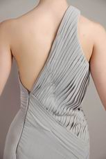 Customized Tailoring One Shoulder Neck High Low Grey Prom Dress