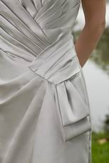 Grey Strapless Mini-length Pleated Bridesmaid Dress Sale