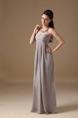 Grey Long Chiffon Skirt Bridesmaid Dress Under $100