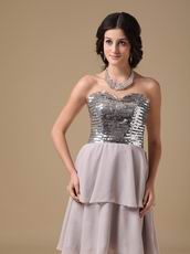 Two Layers Chiffon Skirt Grey Short Prom Dress With Sequin Bodice