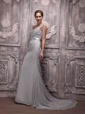 V-neck Gray Chiffon Cheap Prom Evening Dress With Court Train