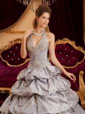 Appliqued Layers Skirt Gray Taffeta Quinceanera Gown On Sale