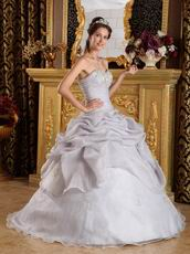 Sweetheart Grey Organza Skirt For Quinceanera Birthday Party
