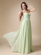Long Chiffon Apple Green Dress For Bridesmaid Wear 2014