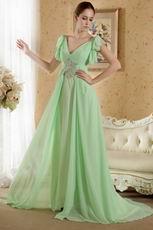V Neckline Beaded Apple Green Prom Dress Designers List