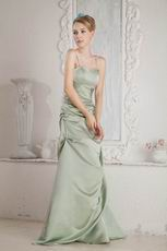 Spaghetti Straps Celadon Greyish-Green Bridal Party Dress Petite