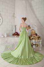 Strapless High Low Skirt Cathedral Spring Green Puffy Prom Gown