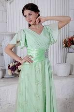Best Seller V-Neck Lace Skirt Light Green Evening Dress