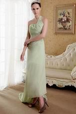 Yellow Green One Shoulder Neckline Chiffon Prom Dress