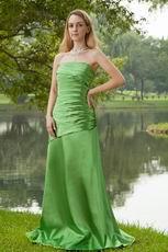Fresh Green Strapless Taffeta Wedding Bridesmaid Dress