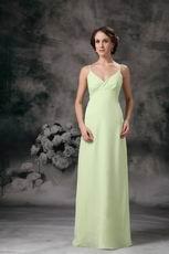 Yellow Green Spaghetti Straps Long Chiffon Bridesmaid Dress