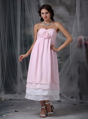 Tea-length Pink and White Layers Put Together Homecoming Dress Summer