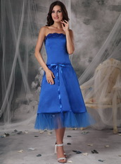 Strapless Tea-length Royal Blue Homecoming Dress With Belt Summer