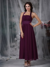 Halter Ankle-length Burgundy Chiffon Dress For Homecoming Summer