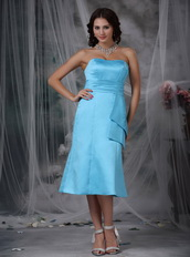 Aqua Blue Strapless Tea-length Dress For Homecoming Wear Summer