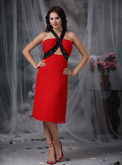 Red Tea-length Homecoming Dress With Black Straps Summer