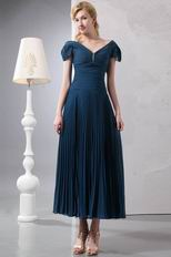 Cap Sleeves Ankle Length Navy Homecoming Dress