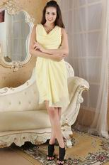 Beautiful V-Neck Moon Yellow Chiffon Homecoming Dress