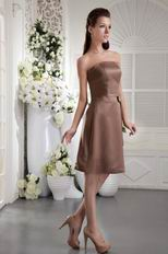 Chocolate Satin Homecoming Dress With Bowknot