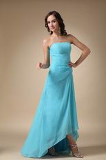 Cheap Strapless Aqua Blue High Low Prom Dress